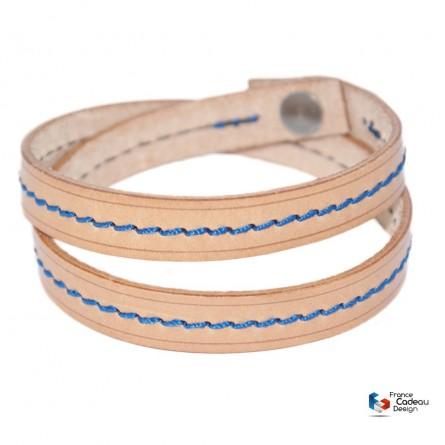 Bracelet double en cuir pleine fleur fil Bleu