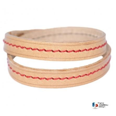 Bracelet double en cuir pleine fleur fil Rouge