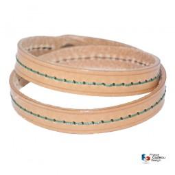 Bracelet double en cuir pleine fleur fil Vert