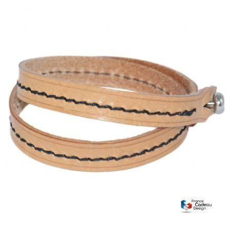Bracelet double en cuir pleine fleur fil Noir
