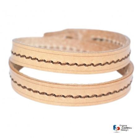 Bracelet double en cuir pleine fleur fil Marron