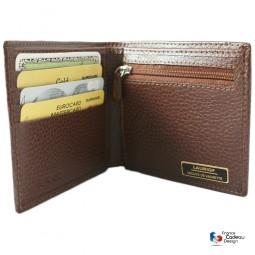 Porte monnaie billets et cartes en cuir marron