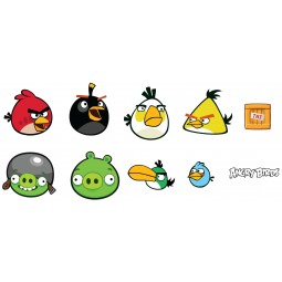 20 Eléments en mousse Mini Angry Birds autocollants