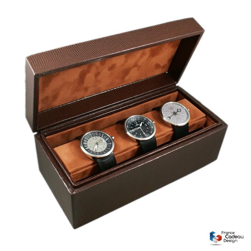 Coffret à 4 montres Lézard