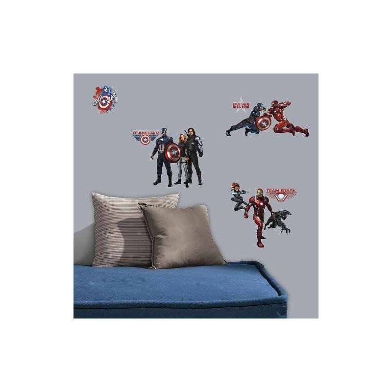 20 Stickers Muraux Captain America
