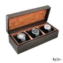 Coffret à 3 montres avec coussinets Croco