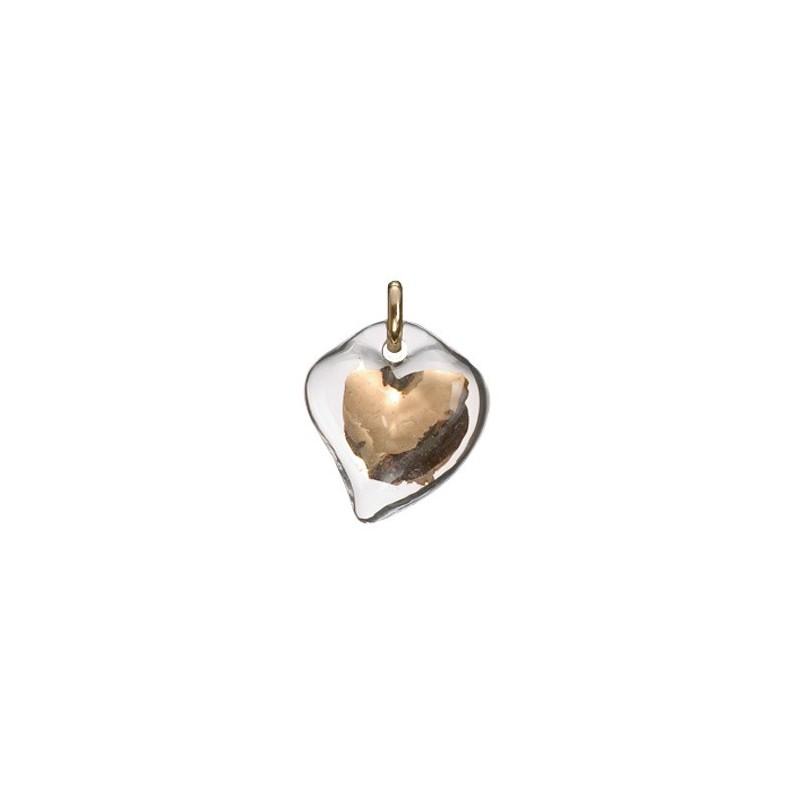 Pendentif coeur transparent et or