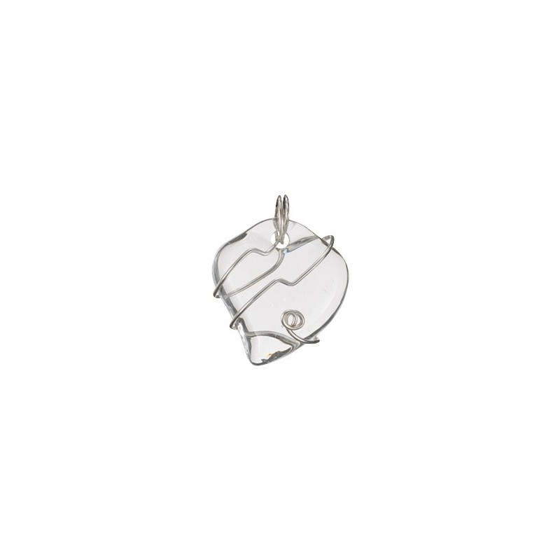 Pendentif coeur transparent fils argent