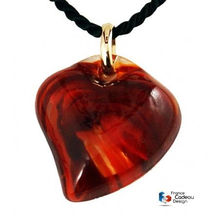 Pendentif coeur marbré rouge