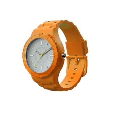 Montre modulable cadran blanc bracelet orange