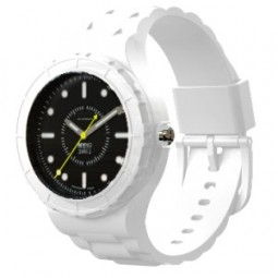 Montre modulable cadran noir mat bracelet blanc