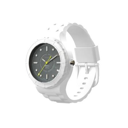 Montre modulable cadran gris bracelet blanc