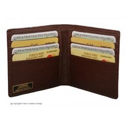 Porte cartes et billets en cuir marron