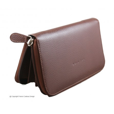 Portefeuille Frenchy en cuir marron