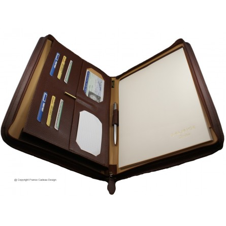 Conférencier porte-document A4 en cuir marron