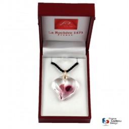 Pendentif coeur transparent framboise et rose
