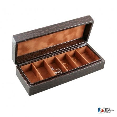 Petit coffret à bijoux Croco chocolat