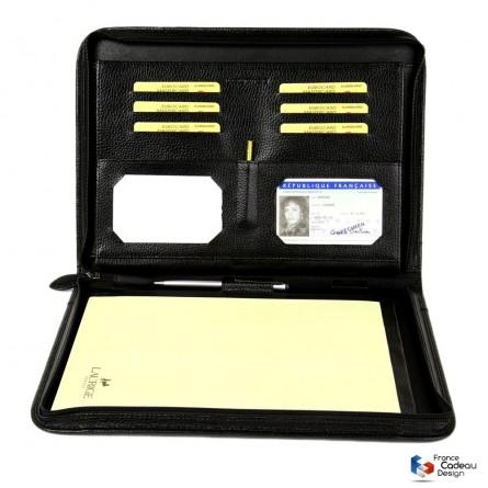 Conférencier porte-document A4 en cuir noir