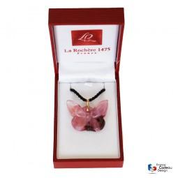 Pendentif papillon rose et framboise