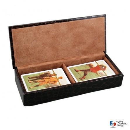 Coffret jeux de cartes gainé en cuir croco - Fabrication artisanale Française