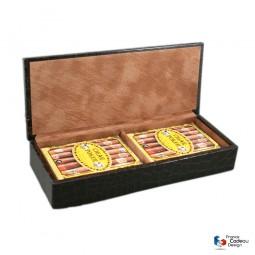 Coffret jeux de cartes gainé en cuir croco modèle cigar poker - Fabrication artisanale Française