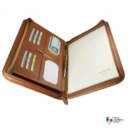Conférencier porte-document A4 en cuir gold