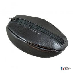 Porte-monnaie grain de café en cuir noir Laurige