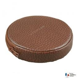 Porte-monnaie rond en cuir marron Laurige