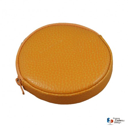 Porte-monnaie rond en cuir orange Laurige