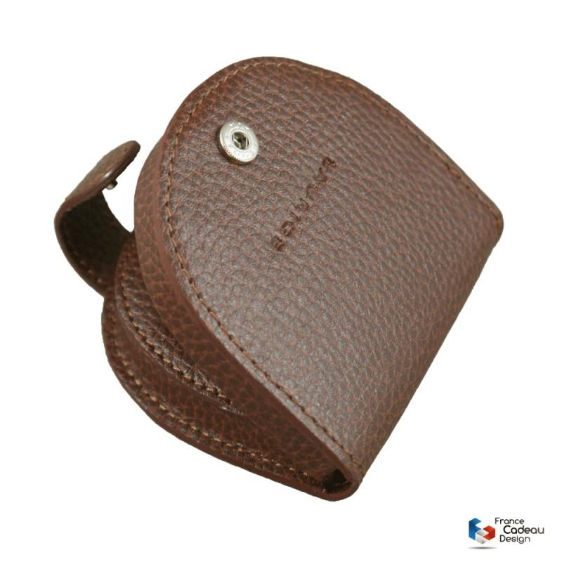 Porte-monnaie cuvette en cuir marron Laurige