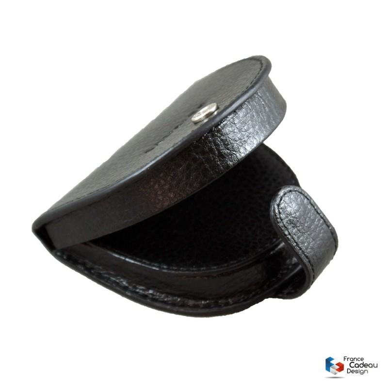 Porte-monnaie cuvette en cuir noir Laurige