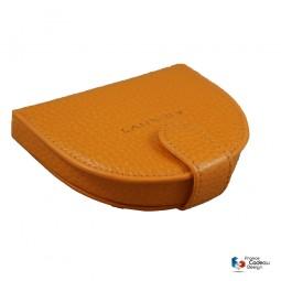 Porte-monnaie cuvette en cuir orange Laurige