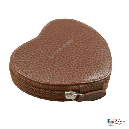 Porte-monnaie coeur en cuir marron Laurige