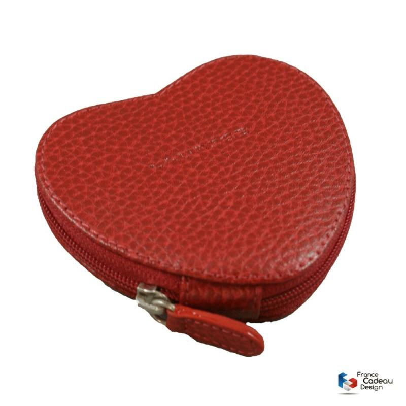 Porte-monnaie coeur en cuir rouge Laurige