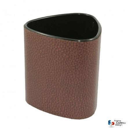 Pot à crayons triangulaire marron