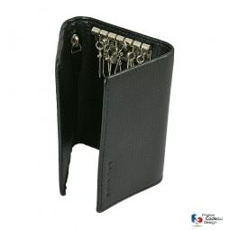 Porte-monnaie à clefs en cuir noir