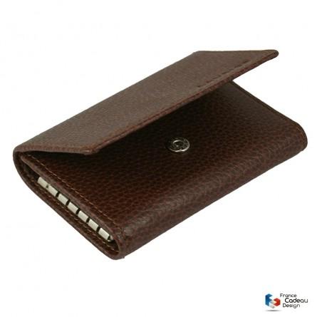 Porte-monnaie à clefs en cuir marron
