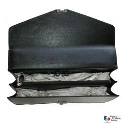Sacoche noir en cuir 2 soufflets