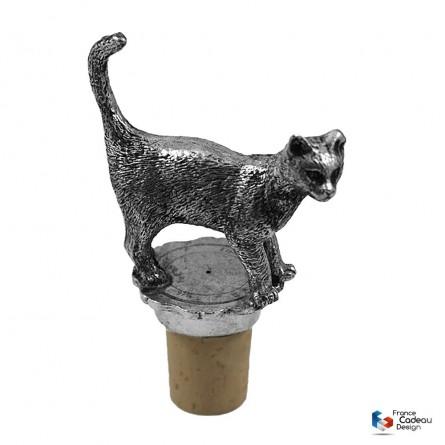 Bouchon décor chat debout en étain