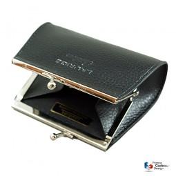 Porte-monnaie avec fermoir en cuir noir