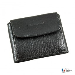 Porte-monnaie, billets et cartes en cuir noir