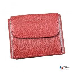 Porte-monnaie, billets et cartes en cuir rouge