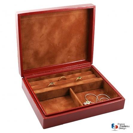 Coffret à bagues et bijoux en cuir façon Lézard rouge
