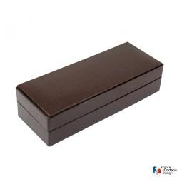 Coffret à boutons de manchettes en cuir Epi chocolat