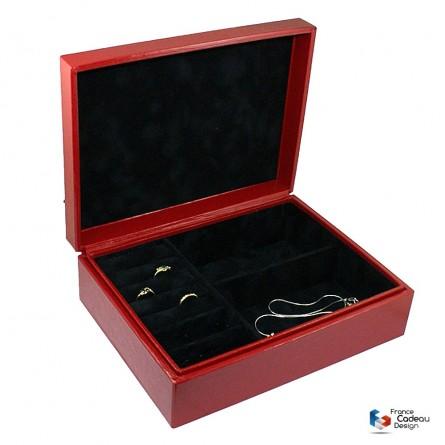 Coffret à bijoux épi rouge en cuir