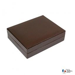 Grand coffret à boutons de manchettes en cuir épi chocolat