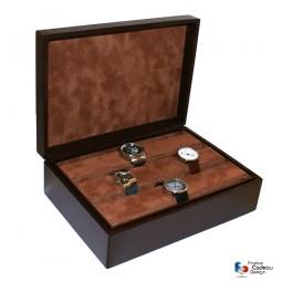 Coffret à montres en cuir façon épi chocolat pour 15 montres - Fabrication artisanale Française