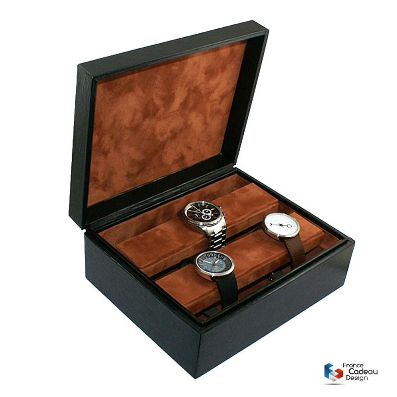 Coffret à montres en cuir façon Epi noir pour 8 montres - Fabrication artisanale Française
