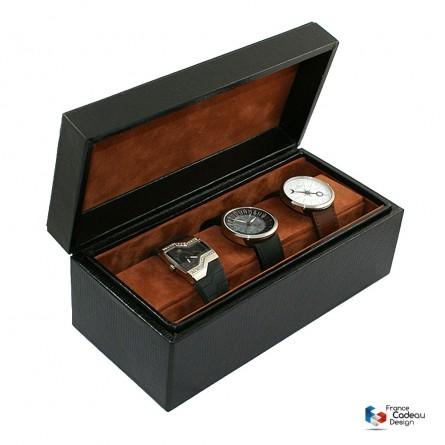 Coffret à montres en cuir façon Lézard noir pour 4 montres - Fabrication artisanale Française