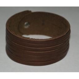 Bacelet cuir marron 7 lanières